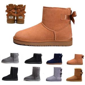 2020 tasarımcı çizme kadın kız klasik kar botları kış siyah kestane moda boyutu 36-41 için ayak bileği kısa yay kürk çizme bowtie