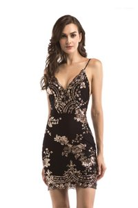 Sequins Mini Party Dress 2020 Womens Desginer Bodycon Dress Summer Sexy V Neck Suspender Open Back