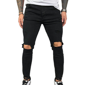 Calças VICABO Mens Jeans Moda Verão Sexy Buraco Pencil Jeans para homens Preto Azul Homens Roupa ropa de hombre 2020 Streetwear #W