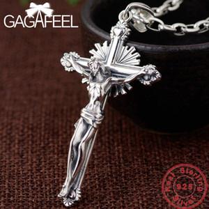 GAGAFEEL Croix solide Colliers Pendentifs hommes S925 Collier en argent sterling pour femme à la mode Jewelries