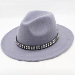 Fashion Women Men Wool Fedora Hat For Gentleman Lady Wide Brim Jazz Hats Godfather Sombrero Cap With Punk Ribbon