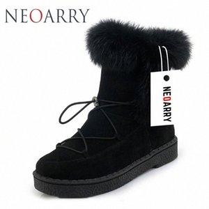 Neoarry invierno botas para mujer de la nieve botas de encaje de Calentamiento piel de la manera del tobillo de los botines de tacón bajo Rusia Calzado de las señoras del tamaño grande LT70 h5RU #