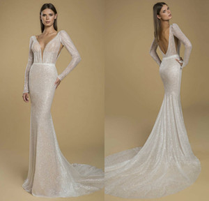 Bling Bling Mermaid Wedding Dresses Deep V Neck Glitter Lace Sweep Train Beach Wedding Dress Custom Made Boho Vestidos De Novia