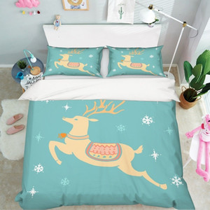 Pillowcases Xmas Deer 75 Bed 3d Quilt Christmas Duvet Cover Set Eoay