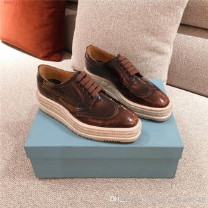 Ladies leather with straw plaited thick-soled fisherman shoes, comfortable breathable lacing casual loafers