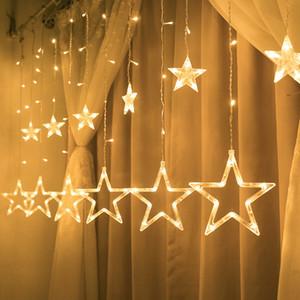Pencere Perde Kapalı Ağacı Dekorasyon Cadılar Bayramı Düğün Işık Noel Peri Işıklar Festoon Led Işıklar Yıldız Garland