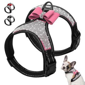 Red Pink Reflective Dog Harness Nylon Pitbull Pug Small Medium Dogs Harnesses Vest Bling Rhinestone Bowknot Dog Accessories Pet Supplies