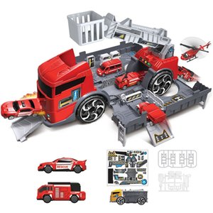 Kids Puzzle Toys Deformation Fire Engineering Vehicle Storage Parking Lot Parent-Child Interaction Inertia Car Model Set,Red
