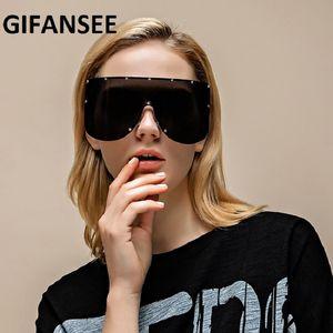 GIFANSEE 2020 Shield Mask Goggles Sunglasses One Shades Women Pieces Brand Visor Designer Men Glasses Rimless Oversized Big Ioive