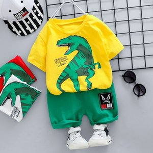 Fashion infant Suits Baby Clothing Set for Boys dinosaur Cute Summer Casual Clothes Set Cartoon T-shirt Top+Shorts Kids Clothes