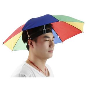 Foldable Sun Rain Umbrella Hat Cap Outdoor Golf Fish Camp Headwear Fishing Caps Sun Protection Head Hats Dropshipping