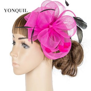 Ladies elegant fancy fascinator hat tulle fashion headwear bride new chic hair accessories hair pin fancy feather headdress