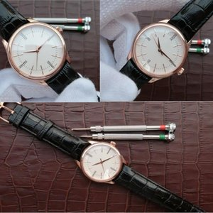 Hot Sale Cellini Tempo everose polido Dial Relógio Mecânico Automático Brown Leather Strap 50505 Perpetual novo polido Mens Relógios 9UMS #