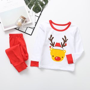 90-130cm Kids Christmas White Long Sleeve Tshirt+ Red Trousers for Boy Girl party Warm Baby Pajamas Sleepwear Homewear Underwear