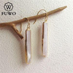 FUWO naturel sélénite Boucles d'oreilles en or 24K plaquent Raw sélénite Pierre Cristal Lame Dangle Boucles d'oreilles ER004 de bijoux élégants