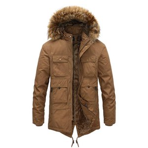 2020 Cargo Parka Windbreaker Fleece Thick Warm Fur Coats Military Hooded Overcoats Men's Winter Clothing kg-33