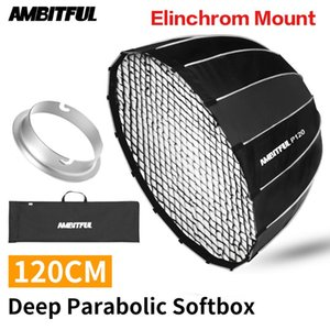 AMBITFUL P120 Portable 120CM 16 Metal Rods Deep Parabolic Softbox with Honeycomb Grid Elinchrom Mount Studio Flash Softbox