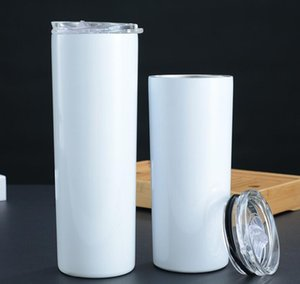 Skinny Tumblers Stainless Steel Water Bottle Double Layer Vacuum Insulation Cups Car Coffee With Lid Straws Drinkware Sea Shipping GWF1911