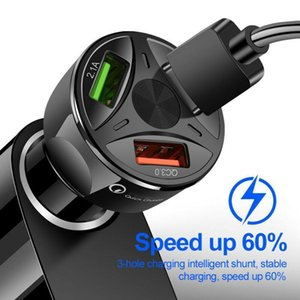 QC3 0,0 3 USB Car Charger rápida Fast Charge Para Iphone Xiaomi Huawei Auto Type C Pd Fast Car Carregador de Celular