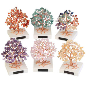 1pc Mini Healing Crystal Money Tree Handmade Copper Wire Wrapped Tumbled Gemstone Tree Feng Shui Ornaments Home Decor