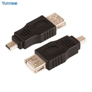 Free Shippping Black Female USB 2.0 A to Male Mini 5 pin B Adapter Converter usb cable For MP3 MP4 100Pcs Lot Wholesale