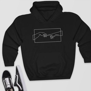Creation Hands Line Art winter Sweatshirts Hoodie kawaii Pullover Jumper Outfits tumblr gothic aesthetic harajuku tops