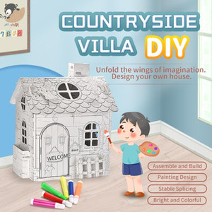 Kids Hand-Painted Graffiti Assembly House DIY 3D Villa Paper Assembled House Educational Interactive Painting Puzzle Game Toys Gift
