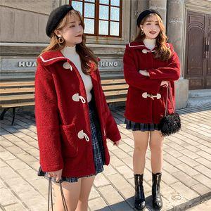 Artı boyutu Kuzu Yün Blend Tasarımcı Gevşek Yaka Boyun Boynuz Düğme Dış Giyim Giyim Moda Günlük Kadınlar Sonbahar Kış Coats Womens