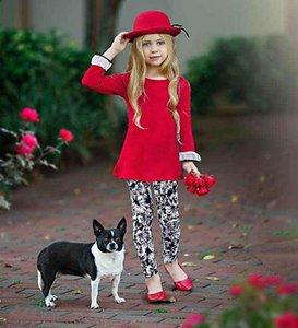 Noël récent 2Pcs Tenues bébé enfant en bas âge Automne manches longues col rond Pull côtelé Tops Fleur Imprimer Pantalon 2-7Y