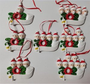 Free DHL 2020 Quarantine Christmas Decoration New Year Holiday Gift Family of 7 Christmas Ornament with Pandemic Face Mask Hand Sanitized