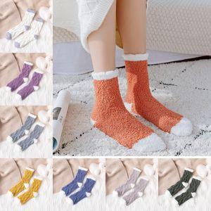 Lady Winter Warm Fluffy Coral Velvet Thick Towel Socks Adult Candy Color Floor Sleep Fuzzy Socks Women Girls Christmas Stockings B206F