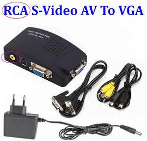 10Set PC Laptop Composite Video TV BNC   RCA S-Video AV In To VGA LCD Out Converter Adapter Switch Box
