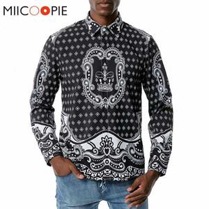 Tuxedo shirt di alta qualità Corona Stampato Uomini Camicia a maniche lunghe 2020 Marca Camisas Para Hombre personalità Mens di disegno di vestiti