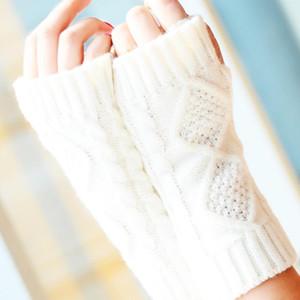 Cgjxs Mode hiver bras court Mitaines solide 20cm tricot chaud printemps laine Mitten Gants Tricot D18110806