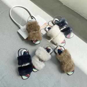 Fashion Real Rabbit Hair Summer Sandals Open Fingered Refreshing Light Texture Women Shoes Flat Sole Black Buckle Simplicity Slipper