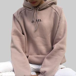 New Fashion Corduroy Long Sleeves Letter Harajuku Print Girl Light Pink Pullovers Tops O neck Woman Hooded Sweatshirt