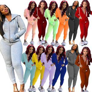 Frauen Anzug Zwei Stücke Set Langarm Hooded Zipper Cardigan Hosen Outfits Solid Color Damen Sportswear Straßenkleidung Herbst New