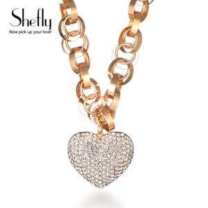 Shefly Yüksek Kaliteli Taşlı Kolye Kolye cz Kristal Kalp kolye Rose Gold Renk Moda Takı kolye XL06929