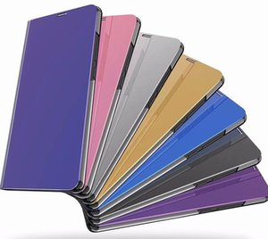 For Samsung Galaxy S10 5G A60 A10 M30 Mirror Leather Wallet Official Case Flip Cover Chromed Smart Window Metallic Plating Luxury Pouches