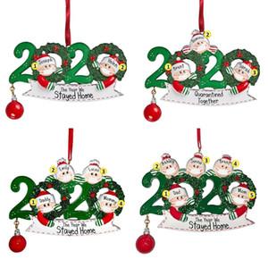 2020 Masque de Noël bonhomme de neige Ornements Suspendus en bois personnalisé Survivant famille Arbre de Noël Pendentif Ornement personnalisé cadeau Featival Decors