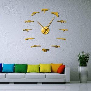 Silahlar Aşıklar Diy Wall Art Tabanca Tüfek Duvar Ev Dekorasyonu Ordu Pro Çeşit Saat Duvar Sticker Silahlar Tabanca Taktik Cephane Büyük Dekor QOIaX