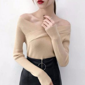 Woman Clothes Sweater Sexy Slash Neck Undefined Bottoming Shirt Winter Women's Sweaters Long Sleeve Pulovers y2k Crop Top
