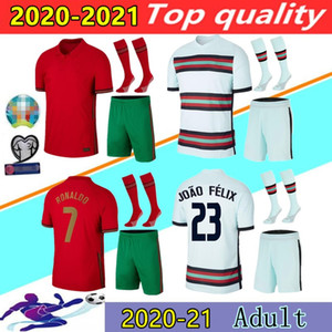 Portugal 2020 2021 camisetas de futebol RONALDO JOAO FELIX NEVES BERNARDO CANCELO RUBEN NEVES20 21 Portugal time nacional camisa de futebol Kit uniforme