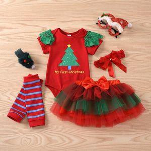 Christmas Baby Girl Infant 4pcs Clothing Sets Suit Princess Tutu Skirt Romper Xmas Party Birthday Costumes Newborn Girl Sets