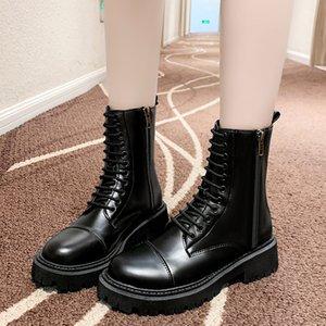 Zipper Martin Boots for Women Ins Trendy 2020 Autumn New High-top British Fan Boots Handsome Knight Boots for Women High Heels