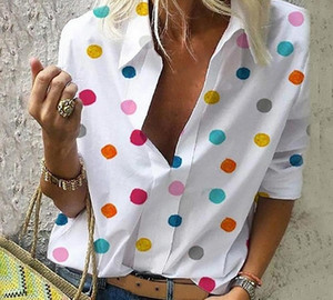 Women Dot Print Blouses Chiffon Colourful Tops Slim Office Lady Shirt And Blouses 2020 Casual V Neck Turn Down Collar Slim99