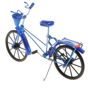 1:10 Aluminum Bike Model Bicycle With Basket Handicraft Toy Blue