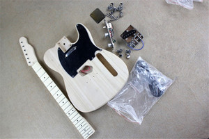 Usine électrique kits de guitare semi-finis, guitare bricolage, No Peinture, Basswood Corps, Manche en érable, pickguard noir, Chrome Hardware, peut être modifié