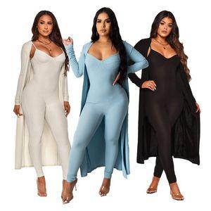 Kadınlar İki Adet Yaz Sonbahar Suits Kolsuz Skinny Tulumlar ve Açık Dikiş Hırkalar Seti 2021 Yeni Stil