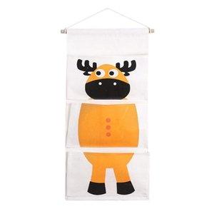Roupa de cama e de banho de armazenamento 1 Quarto Pc parede Organizador dos desenhos animados Escritório Calf Hanging Cotton Yellow Door Para Bag Pockets Sundries sqcjme